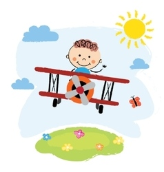 Boy flying over a field vector