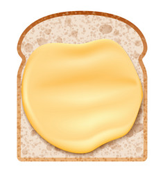 Butter on bread icon realistic style vector
