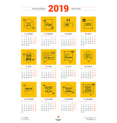calendar poster template for 2019 year week vector image