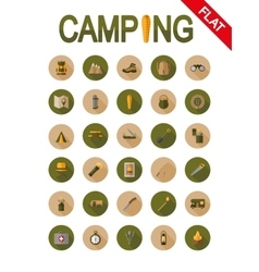 Camping icons Flat vector image