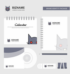 cat logo calendar template cd cover diary and usb vector image
