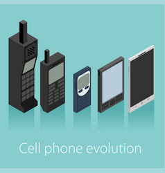 Cell phone evolution isometric vector