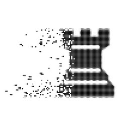 Chess tower fragmented pixel icon vector