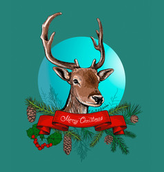 christmas hand drawn background with deer vector image