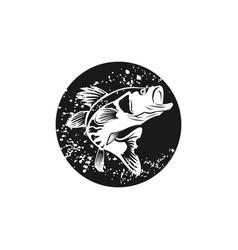Circle rustic largemouth bass fish vector
