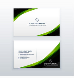 Clean simple green business card design template vector