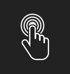 click hand icon cursor finger sign flat on black vector image