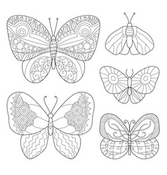 Coloring page with butterflies antistress vector