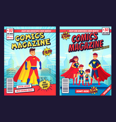 comic book cover with super hero man and family vector image