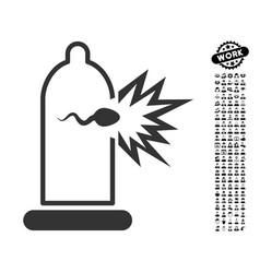 Condom sperm escape icon with job bonus vector