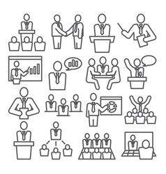 Conference line icons set on white background vector