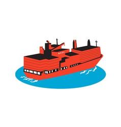 Container cargo ship retro vector