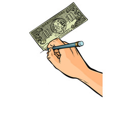 counterfeiter draws money dollars vector image