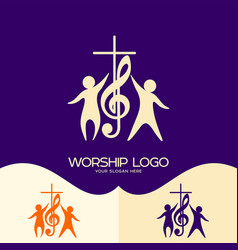 Cross musical note and worshiping jesus vector