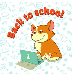 cute puppy of welsh corgi learning with laptop vector image