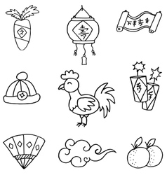doodle chinese new year vector image