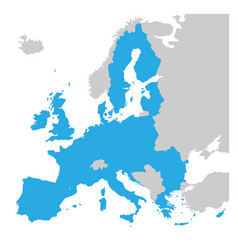 european union territory blue silhouette map of vector image