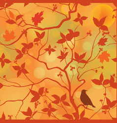 fall leaves floral seamless pattern autumn forest vector image