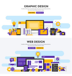 flat design concept banners - graphic and web vector image