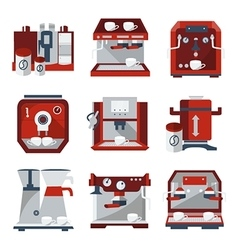 Flat icons for selling coffee machines vector