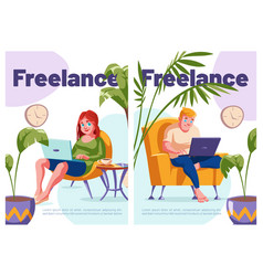 freelance cartoon posters relaxed freelancers vector image