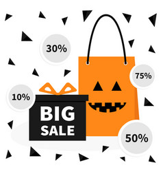 gift box ribbon and bow pumpkin face shopping bag vector image