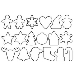 Gingerbread outline objects set vector