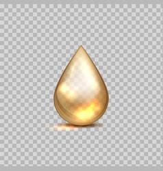 Gold oil drop petrol golden droplet 3d falling vector