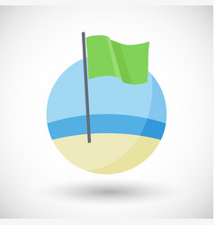 green beach flag flat icon vector image
