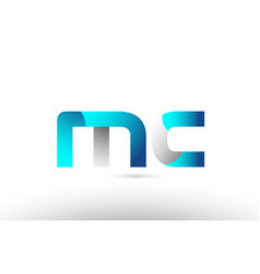 Grey blue alphabet letter mc m c logo 3d design vector