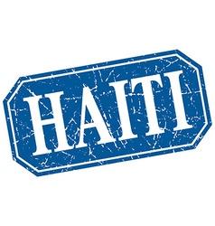 Haiti blue square grunge retro style sign vector
