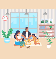 happy family playing board game together sitting vector image