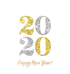 Happy new year 2020 greeting card golden vector