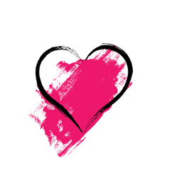 heart shape frame with brush painting vector image