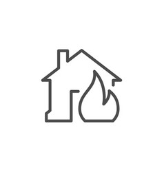 house in fire line outline icon vector image