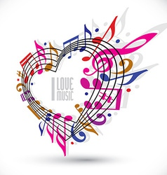 I love music template in red pink and violet vector