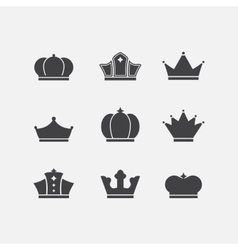 icons set different black crowns shapessigns vector image