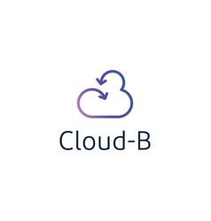 initial b with cloud computing logo design vector image