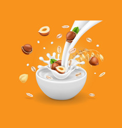 Instant oatmeal hazelnut milk flowing into a bowl vector