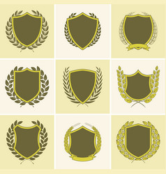 Laurel wreath badges templates vector