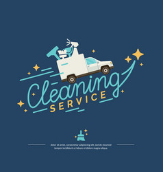logo for a cleaning service with car vector image