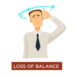 Loss balance dizziness stroke symptom disease vector