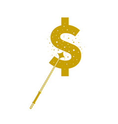 magic wands with dollar currency shape vector image