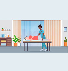 man lying on massage bed african american masseuse vector image