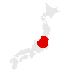 Map of Japan with flag vector