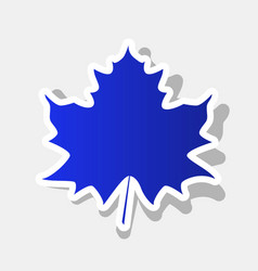 Maple leaf sign new year bluish icon with vector