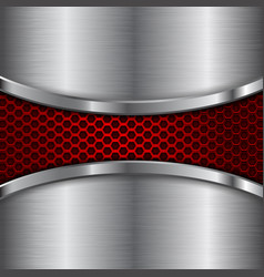 metal brushed background with red perforated vector image