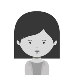 monochrome half body woman with short hair vector image