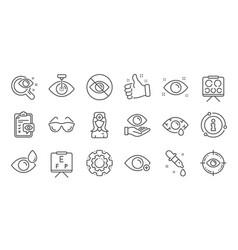 Optometry eye doctor line icons medical laser vector