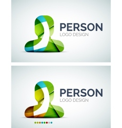 Person logo design made of color pieces vector image